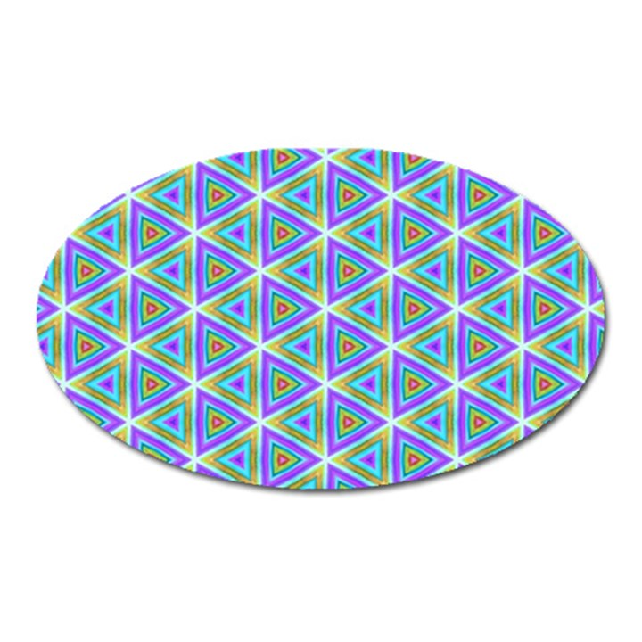 Colorful Retro Geometric Pattern Oval Magnet