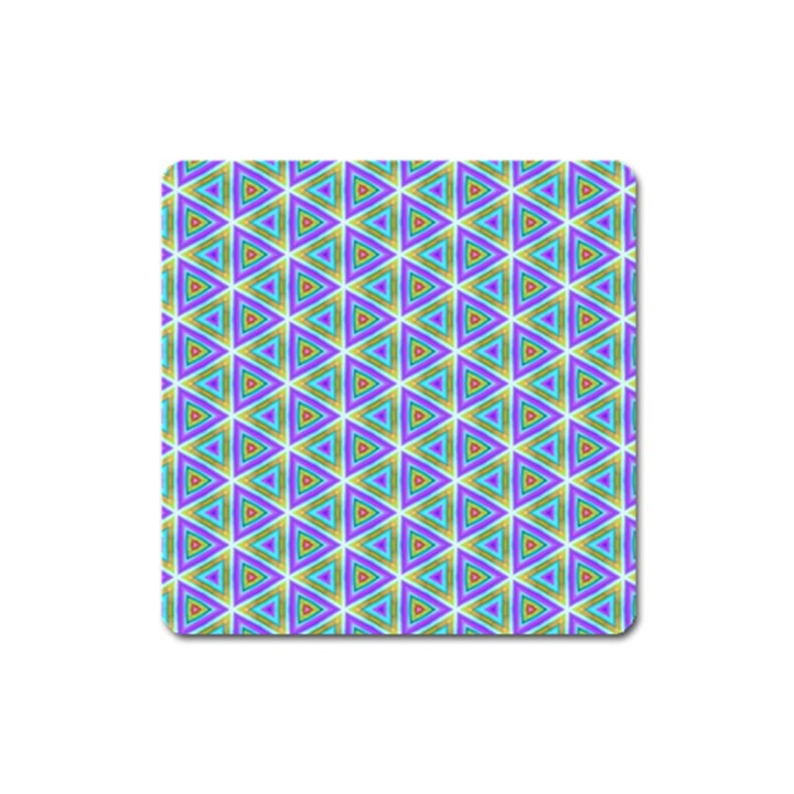 Colorful Retro Geometric Pattern Square Magnet