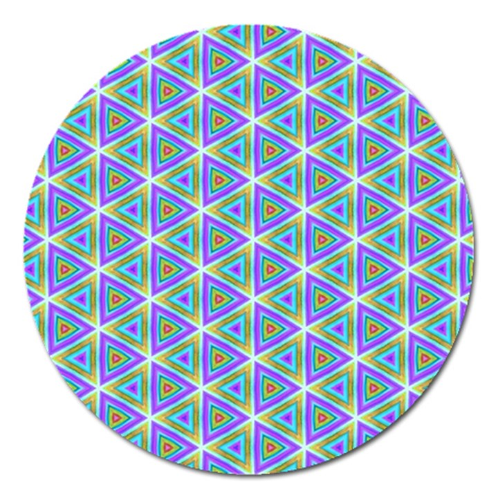Colorful Retro Geometric Pattern Magnet 5  (Round)