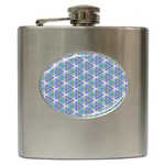 Colorful Retro Geometric Pattern Hip Flask (6 oz) Front