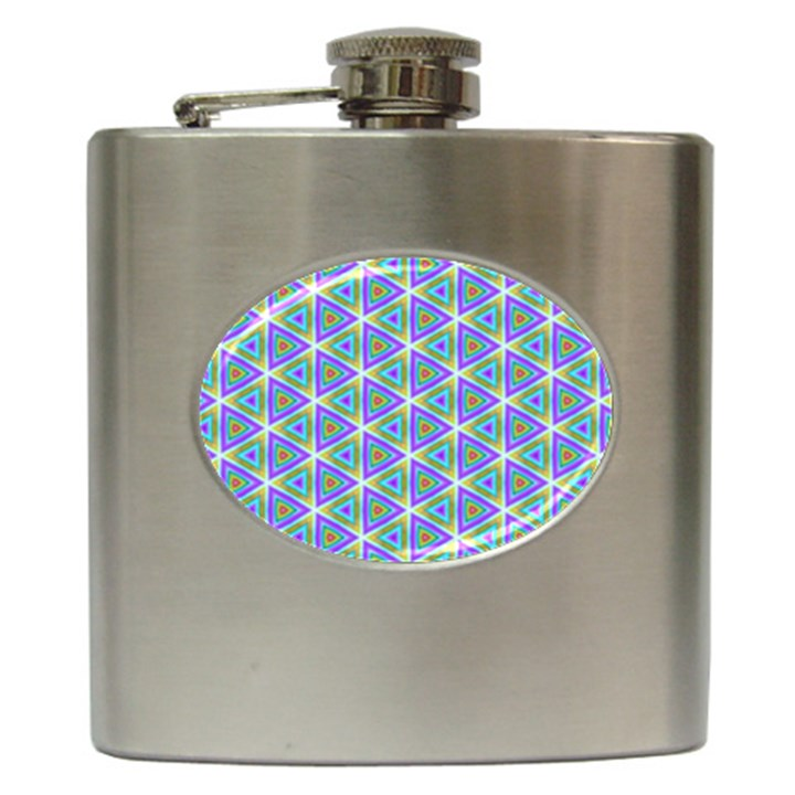 Colorful Retro Geometric Pattern Hip Flask (6 oz)