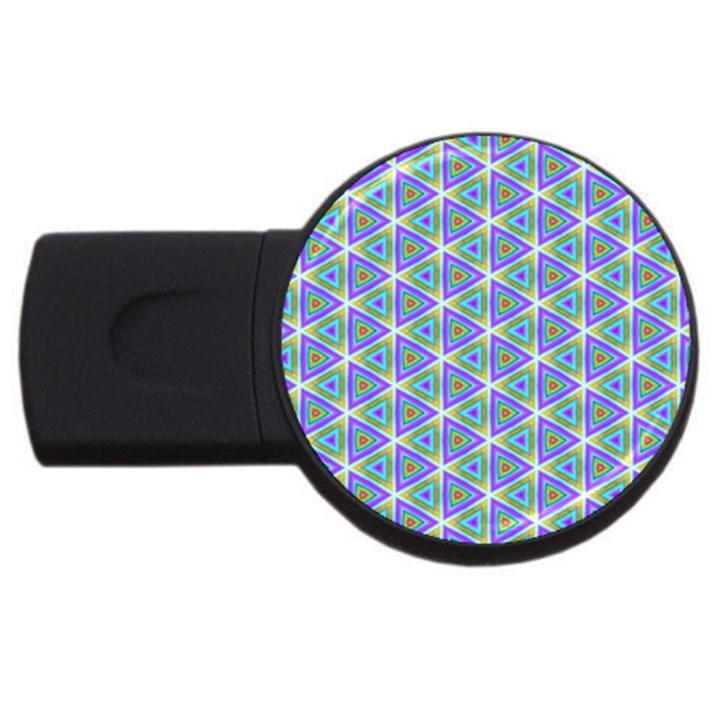 Colorful Retro Geometric Pattern USB Flash Drive Round (2 GB)