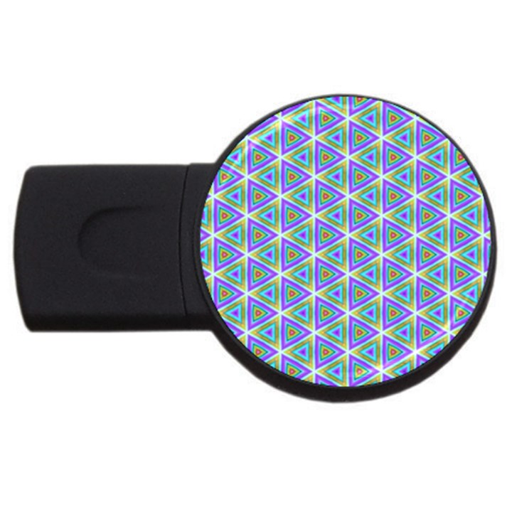 Colorful Retro Geometric Pattern USB Flash Drive Round (1 GB)