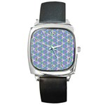 Colorful Retro Geometric Pattern Square Metal Watch Front