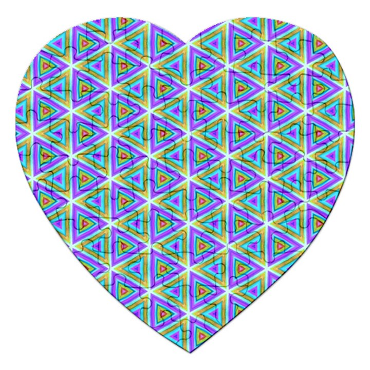 Colorful Retro Geometric Pattern Jigsaw Puzzle (Heart)