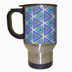 Colorful Retro Geometric Pattern Travel Mugs (White)