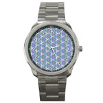 Colorful Retro Geometric Pattern Sport Metal Watch Front