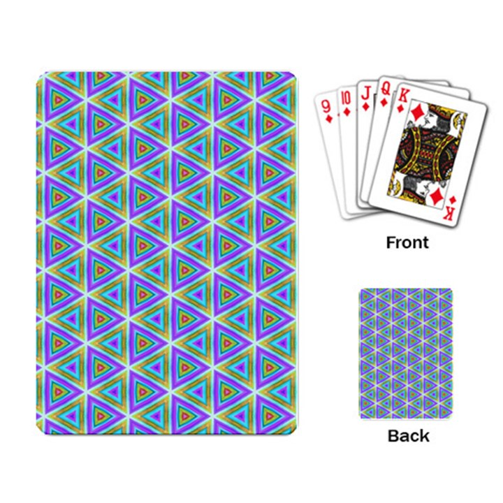 Colorful Retro Geometric Pattern Playing Card