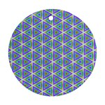 Colorful Retro Geometric Pattern Round Ornament (Two Sides)  Back