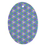 Colorful Retro Geometric Pattern Oval Ornament (Two Sides) Back