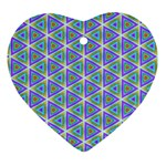 Colorful Retro Geometric Pattern Heart Ornament (2 Sides) Back