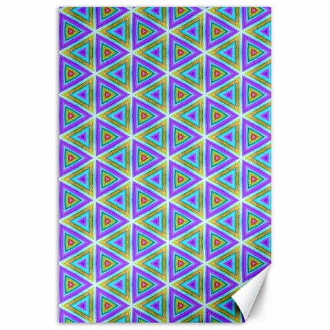 Colorful Retro Geometric Pattern Canvas 24  x 36