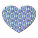 Colorful Retro Geometric Pattern Heart Mousepads Front