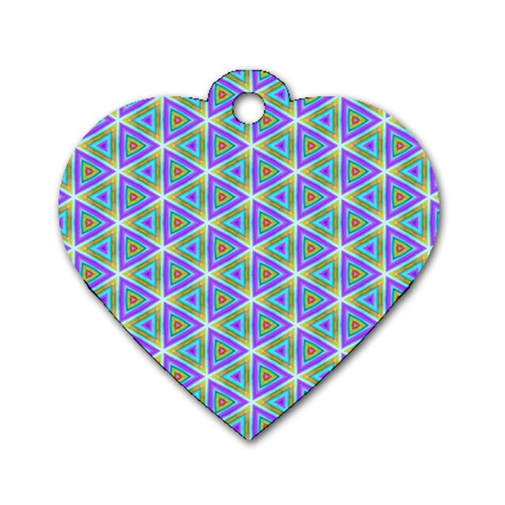 Colorful Retro Geometric Pattern Dog Tag Heart (Two Sides)