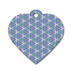 Colorful Retro Geometric Pattern Dog Tag Heart (Two Sides) Back