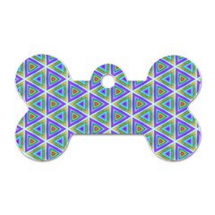 Colorful Retro Geometric Pattern Dog Tag Bone (two Sides)