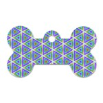 Colorful Retro Geometric Pattern Dog Tag Bone (Two Sides) Front