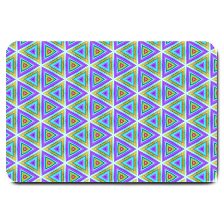 Colorful Retro Geometric Pattern Large Doormat