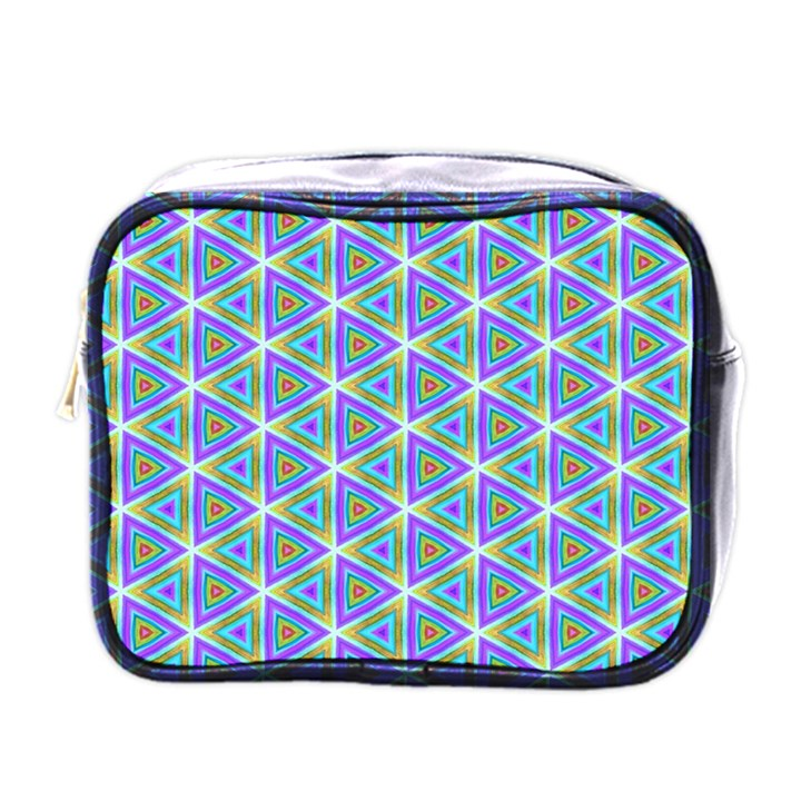 Colorful Retro Geometric Pattern Mini Toiletries Bags