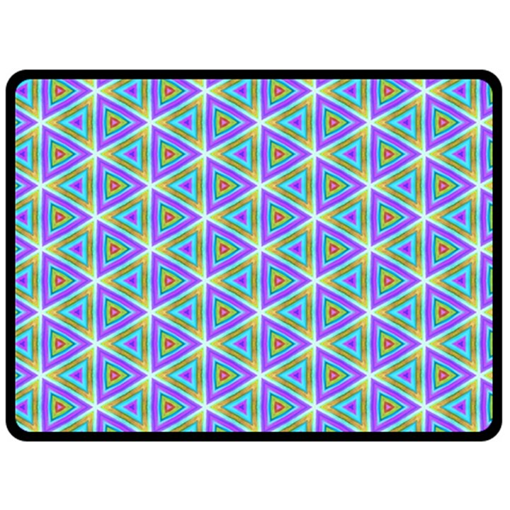 Colorful Retro Geometric Pattern Fleece Blanket (Large)