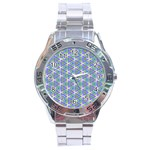 Colorful Retro Geometric Pattern Stainless Steel Analogue Watch Front
