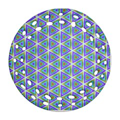 Colorful Retro Geometric Pattern Ornament (Round Filigree)