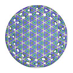 Colorful Retro Geometric Pattern Ornament (round Filigree)
