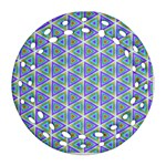 Colorful Retro Geometric Pattern Ornament (Round Filigree)  Front