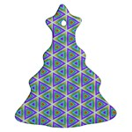 Colorful Retro Geometric Pattern Christmas Tree Ornament (2 Sides) Back