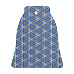 Colorful Retro Geometric Pattern Bell Ornament (2 Sides) Front