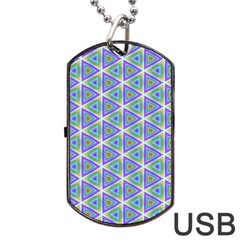 Colorful Retro Geometric Pattern Dog Tag USB Flash (One Side)