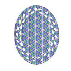 Colorful Retro Geometric Pattern Oval Filigree Ornament (2-Side)