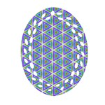 Colorful Retro Geometric Pattern Oval Filigree Ornament (2-Side)  Front