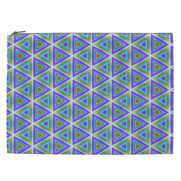 Colorful Retro Geometric Pattern Cosmetic Bag (XXL)