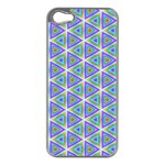 Colorful Retro Geometric Pattern Apple iPhone 5 Case (Silver) Front