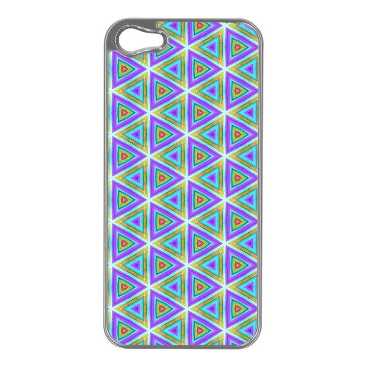 Colorful Retro Geometric Pattern Apple iPhone 5 Case (Silver)