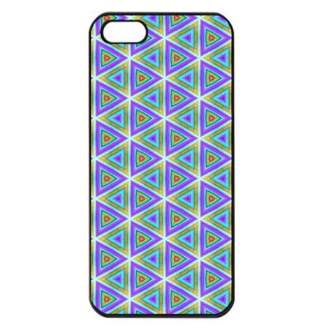 Colorful Retro Geometric Pattern Apple iPhone 5 Seamless Case (Black)