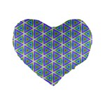 Colorful Retro Geometric Pattern Standard 16  Premium Heart Shape Cushions Front