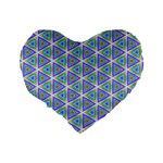 Colorful Retro Geometric Pattern Standard 16  Premium Heart Shape Cushions Back