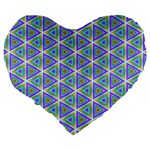 Colorful Retro Geometric Pattern Large 19  Premium Heart Shape Cushions Back