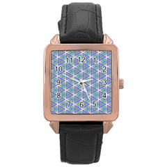 Colorful Retro Geometric Pattern Rose Gold Leather Watch
