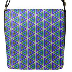 Colorful Retro Geometric Pattern Flap Messenger Bag (S)