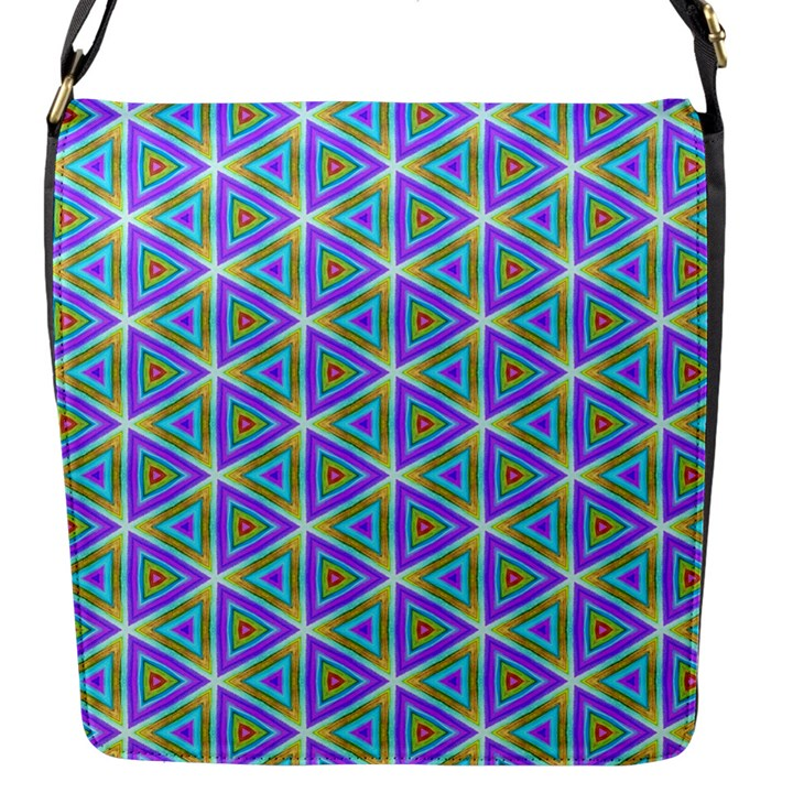 Colorful Retro Geometric Pattern Flap Messenger Bag (S)