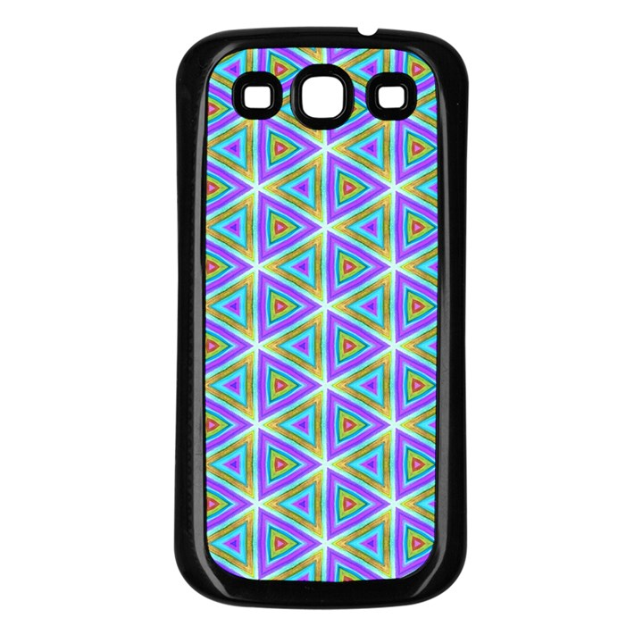 Colorful Retro Geometric Pattern Samsung Galaxy S3 Back Case (Black)