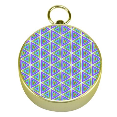 Colorful Retro Geometric Pattern Gold Compasses