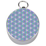 Colorful Retro Geometric Pattern Silver Compasses Front