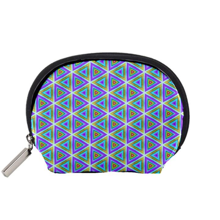Colorful Retro Geometric Pattern Accessory Pouches (Small)