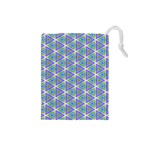 Colorful Retro Geometric Pattern Drawstring Pouches (Small)  Front