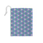 Colorful Retro Geometric Pattern Drawstring Pouches (Medium)  Back