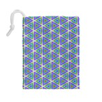 Colorful Retro Geometric Pattern Drawstring Pouches (Large)  Back